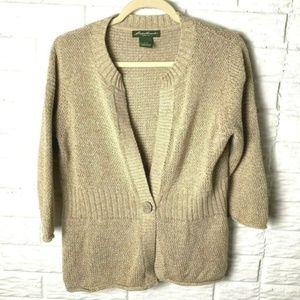 😊 Eddie Bauer Cardigan Sweater Size Large Tan